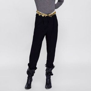 CASUAL ANKLE CROPPED BLACK PANTS